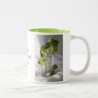 Shamrocks in a Vintage Bottle Two-Tone Coffee Mug
