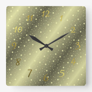 shamrocks in gold watches square wall clock