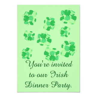 "Shamrocks Irish Dinner Party Invitations 5"" X 7"" Invitation Card"