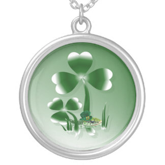 Shamrocks N Snakes Silver Plated Necklace