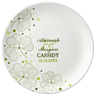 Shamrocks Polka Dots Porcelain Wedding Plate Porcelain Plate