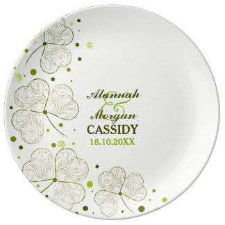 Shamrocks Polka Dots Porcelain Wedding Plate Porcelain Plate