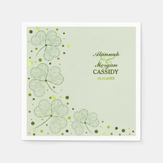Shamrocks Polka Dots Wedding Paper Napkins