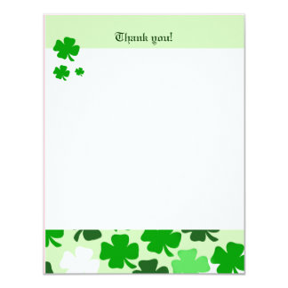 SHAMROCKS St Patricks day 4x5 Flat Thank you note 11 Cm X 14 Cm Invitation Card