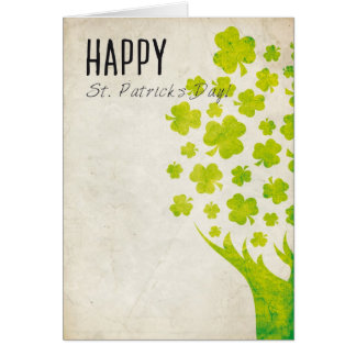 Shamrocks Tree Vintage Card