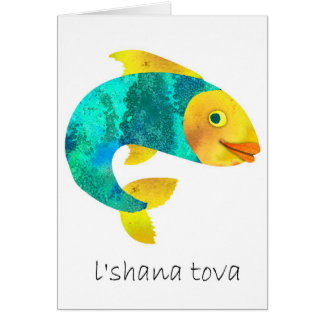 Shana Tova- Happy Jewish New Years,Fish motif Card