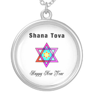 Shana Tova Jewish Star Silver Plated Necklace