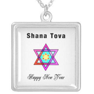 Shana Tova Jewish Star Square Pendant Necklace