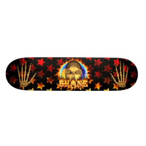 Shane skull real fire and flames skateboard design