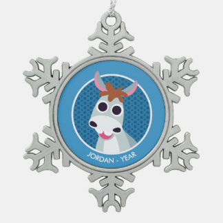Shane the Donkey Snowflake Pewter Christmas Ornament