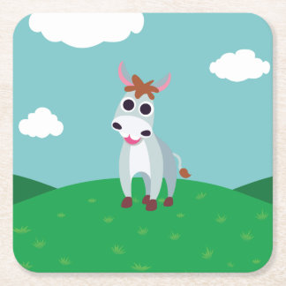 Shane the Donkey Square Paper Coaster