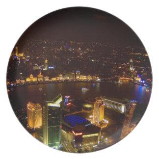 Shanghai China wonderful skyline with modern Plate