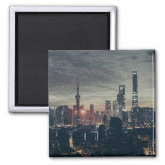 Shanghai Night Skyline Square Magnet