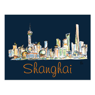 Shanghai Skyline Drawing Postcard
