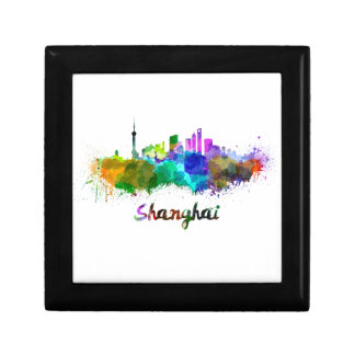 Shanghai skyline in watercolor gift box