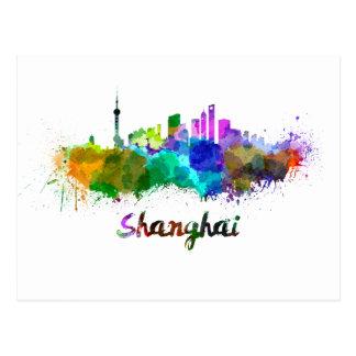 Shanghai skyline in watercolor postcard