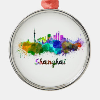 Shanghai skyline in watercolor Silver-Colored round decoration