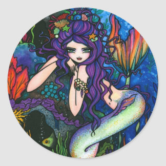 """Shannon"" Mermaid Fantasy Fairy Round Sticker"