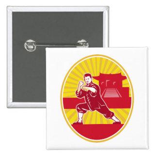 Shaolin Kung Fu Martial Arts Master Retro 15 Cm Square Badge