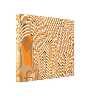 Shape and Movement,Orange White Art Canvas Canvas Print