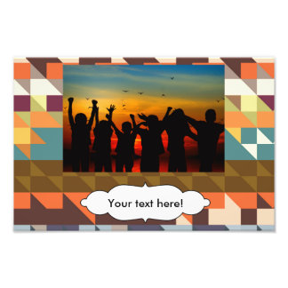 Shapes in retro colors abstract design photographic print