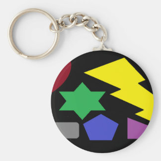 Shapes in the Night Basic Round Button Key Ring