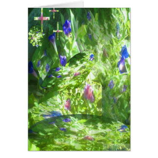 Shapes of Peace in Mamaw's Garden w 3 crosses Greeting Card