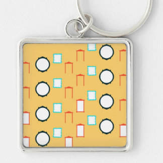 Shapes Silver-Colored Square Key Ring