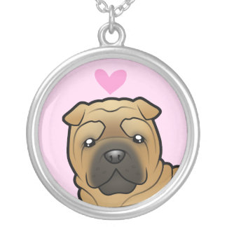 Shar Pei Love Silver Plated Necklace
