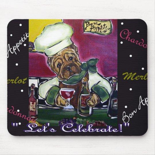 Shar-Pei Wine Chef Mouse Mat
