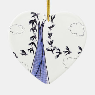 ShardArt Blue Skies by Tony Fernandes Ceramic Heart Decoration