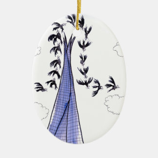 ShardArt Blue Skies by Tony Fernandes Ceramic Oval Decoration