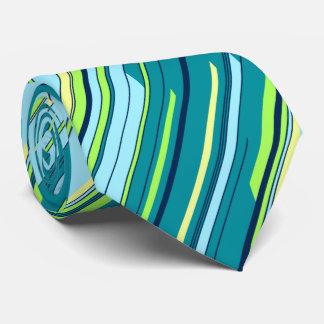 Shards Geometric Diagonal Striped Teal Two-sided Tie