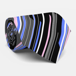 Shards Geometric Striped Black Two-sided Tie