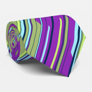 Shards Geometric Striped Violet & Moss Two-sided Tie