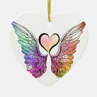 Share - Angel Wings and Heart Christmas Ornament