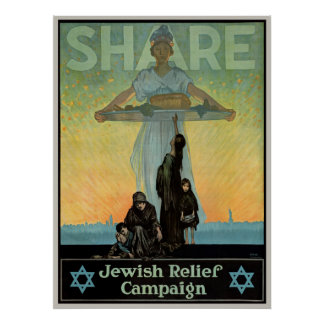 Share - Jewish Relief Campaign Vintage Poster