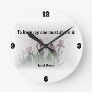 Share Joy Quote with Purple Irises Round Clock