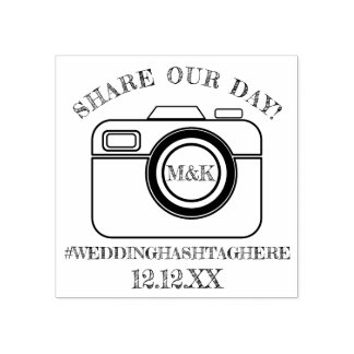 Share Our Day Camera Wedding Hashtag Rubber Stamp