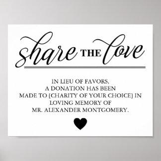 Share the Love Lieu of Favors Wedding Poster