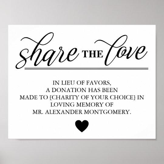 Share the Love Lieu of Favours Wedding Poster