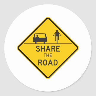 Share the Road Highway Sign Classic Round Sticker