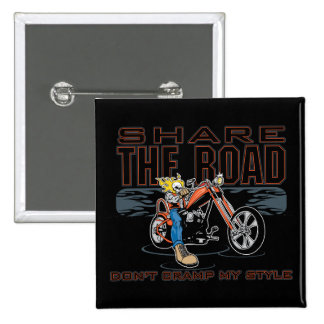 Share the Road Motorcycle 15 Cm Square Badge