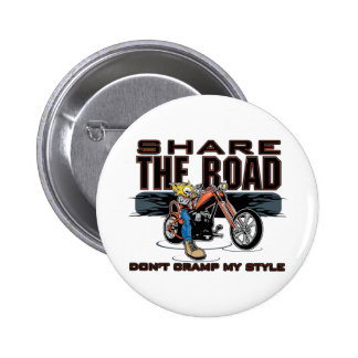 Share the Road Motorcycle 6 Cm Round Badge