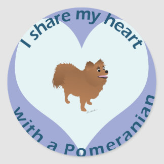 Share Your Heart - Pomeranian Classic Round Sticker