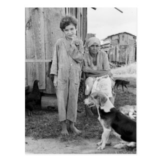 Sharecropper Family with Hound Dog 1935 Post Cards