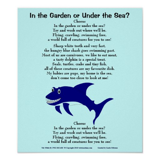 Shark 1, In the Garden or Under the Sea?, Choru... Posters