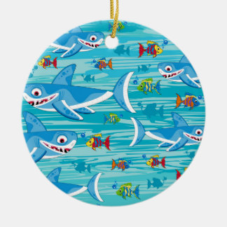 Shark and Tropical Fish Pattern Christmas Ornament