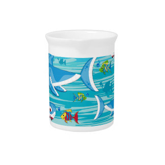 Shark and Tropical Fish Pattern Pitcher