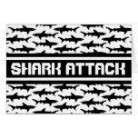 Shark Attack Black and White Sharks Pattern Greeting Cards